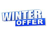 winter offer in 3d blue letters and block
