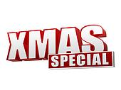 xmas special in 3d red letters and block