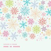 Colorful Doodle Snowflakes Horizontal Border Seamless Pattern Background