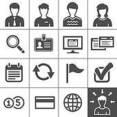 Telecommuting icons set - Simplus series