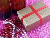 Two champagne or wine bottle ready to bring in the New Year, luxury diamonds and gift boxes