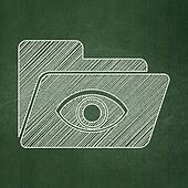Finance concept: Folder With Eye on chalkboard background