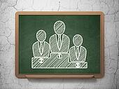 News concept: Business Team on chalkboard background