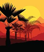 Tropical sunset palm trees vector background