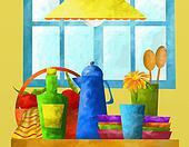 background with kitchen utensils