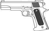 hand gun strokes outline