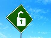Safety concept: Opened Padlock on road sign background