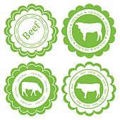 Farm animals market ecology organic beef meat label vector background concept