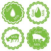 Organic farm dairy goats cheese, milk and meat food labels illustration collection
