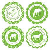 Organic farm horse meat food labels illustration