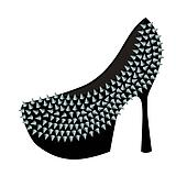 Women's high-heeled shoes decorated with studs