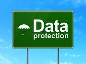 Safety concept: Data Protection and Umbrella on road sign background