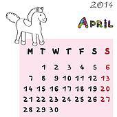 horse calendar 2014 april