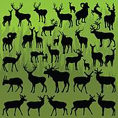 Deer, moose and mountain sheep horned animals vector