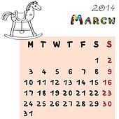 horse calendar 2014 march