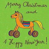 toy horse greetings card