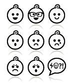 Baby boy faces, avatar vector icons