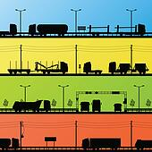 Highway roadway landscape and heavy duty trucks detailed silhouettes illustration collection background vector