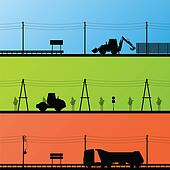 Highway roadway construction site roadwork landscape and heavy duty trucks and tractors detailed silhouettes illustration collection background vector
