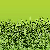 Grass, reed and wild plants detailed silhouettes illustration background