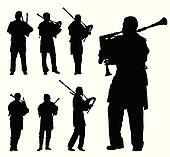Scottish bagpiper silhouette vector background set