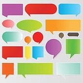 Colorful speech bubbles and balloons background vector