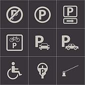 Vector black parking icons set