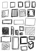 set hand drawn shapes square