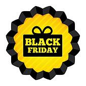 Black Friday Sale label with gift box on white.
