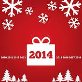 New Year greetings card with flat icons, 2014