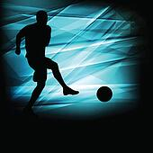Soccer football player silhouette vector abstract blue background for poster