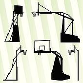 Basketball hoop vector background set concept