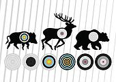 Shooting range wild boar, deer and bear hunting targets silhouettes illustration collection background vector