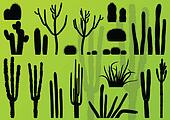 Desert cactus plants wild nature landscape illustration background vector