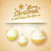 Christmas balls on a paper background