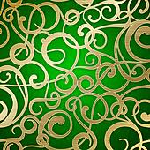 Golden abstract pattern on green background.