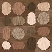 Natural wood texture speech bubbles vector