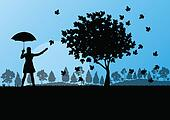 Maple tree autumn leaves and girl with umbrella background vector landscape concept