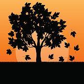 Maple tree autumn leaves background vector landscape