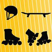 Roller skate, skateboard and helmet vector background