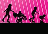 Family in roller skates vector background concept