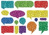 Colorful speech bubbles and balloons cloud