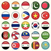 Antarctic and Russian Flags Round Buttons