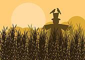 Autumn countryside landscape background illustration