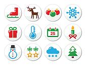 Christmas winter colorful icons set