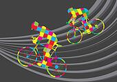 Cyclist riding a bicycle vector background