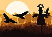 Scarecrow with flying crows in autumn countryside field landscape background illustration vector