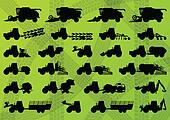 Agriculture industrial farming equipment tractors, trucks, harvesters, combines and excavators detailed silhouettes illustration collection background vector