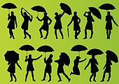 Girl with umbrella and raincoat in detailed editable silhouette illustration collection green background vector