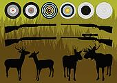Shooting range wild deer, elk and moose silhouettes and guns illustration collection background vector